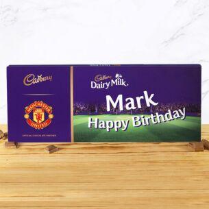 Personalised 850g Manchester United Dairy Milk Chocolate Bar