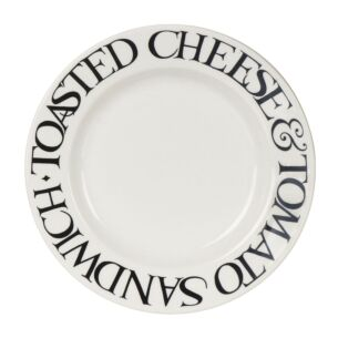 Black Toast Cheese & Tomato 6 1/2 Inch Plate