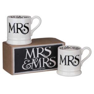Emma Bridgewater Mrs & Mrs Boxed Set of Two Half Pint Mugs