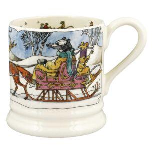 Badger On Sleigh Half Pint Mug