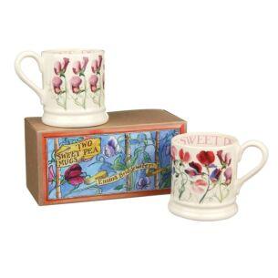Sweet Pea Flowers Set of Two Boxed Half Pint Mugs