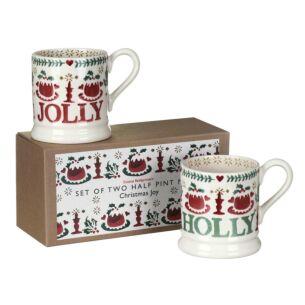Christmas Joy Set of 2 Half Pint Mugs Boxed