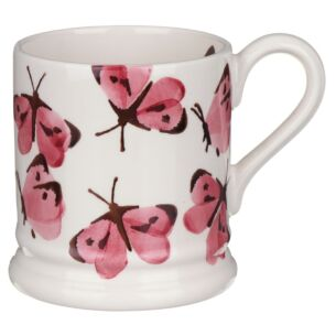 Pink Cabbage White Butterfly Half Pint Mug