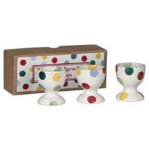 Polka Dot Set of 3 Eggs Cups Boxed