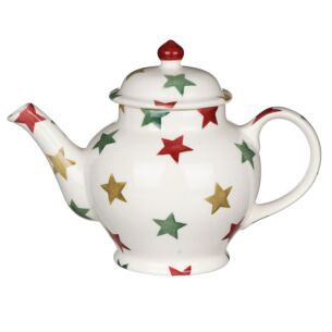 Red, Green & Gold Star 3 Mug Teapot