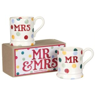 Polka Dot Mr & Mrs Set of 2 Half Pint Boxed Mugs