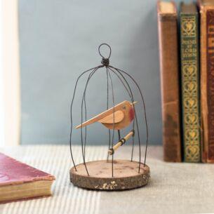 Small Naive Bird in Wire Cage Ornament