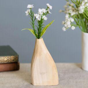 Hand Carved Vase Pale Wood