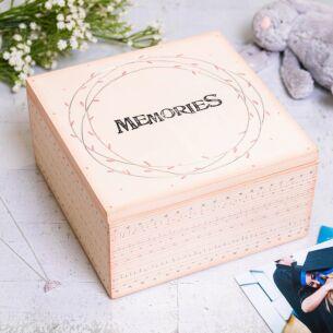 'Memories' Large Pink Striped Box