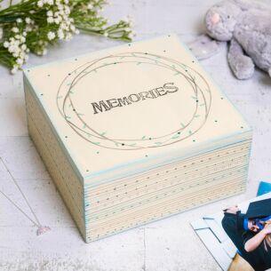 'Memories' Large Blue Striped Box