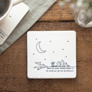 'Seven Billion People' Porcelain Square Coaster