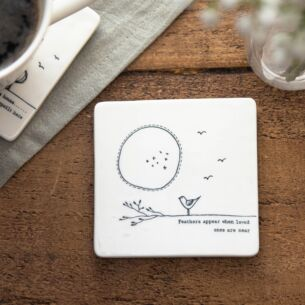 'Feathers Appear' Porcelain Square Coaster
