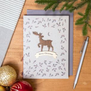 'Wooden Stag' Christmas Card