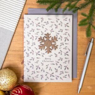 'Wooden Snowflake' Christmas Card