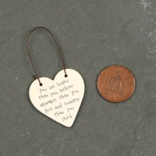 You Are Braver … 3cm Newsprint Heart on Wire