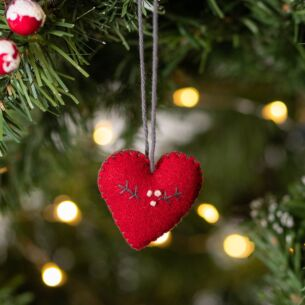 Christmas Small Embroidered Red Heart
