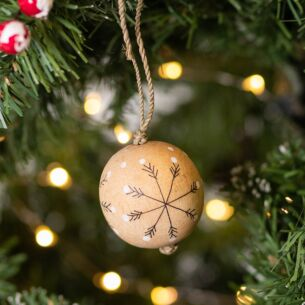 Christmas Snowflakes Wooden Bauble Medium