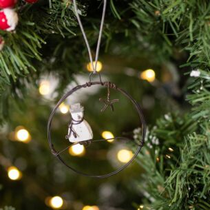 Christmas Snowman Small Hanging Metal Wreath