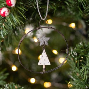 Christmas Tree Small Hanging Metal Wreath
