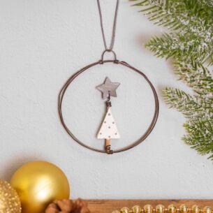 Christmas Tree Small Hanging Metal Wreath