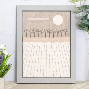 Large Embroidered 'Distance Never Separates' Frame
