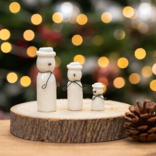 Christmas Set of 3 Porcelain Snowmen