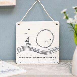 'Make The World More Special' Hanging Porcelain Sign