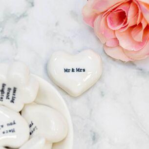 'Mr & Mrs' White Heart Token