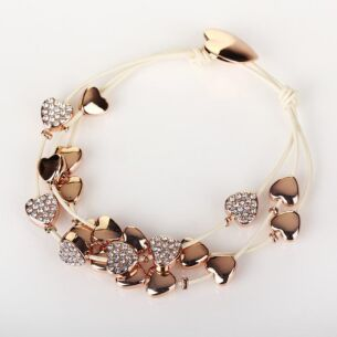 Equilibrium Rose Gold Multi Hearts Leather Bracelet