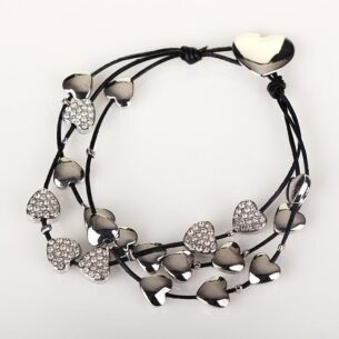 Silver Multi Hearts Leather Bracelet