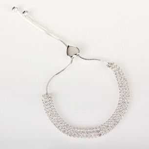 Silver Plated Three Row Diamante Bling Bracelet