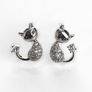 Pavé Cat White Gold Plated Earrings
