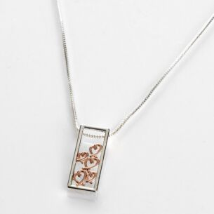 Polished Two Tone Hearts Rectangular Necklace