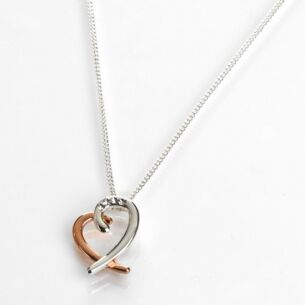 Polished Two Tone Layered Heart Necklace