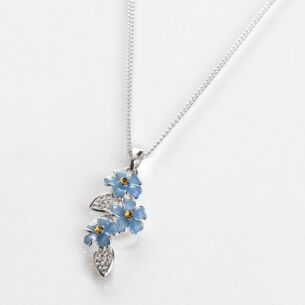 Forget-Me-Not Cascade Silver Plated Necklace