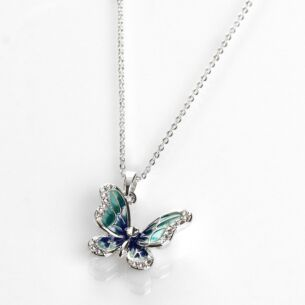 Equilibrium Hand Painted Elegant Blue Butterfly Necklace