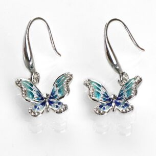 Hand Painted Elegant Blue Butterfly Earrings