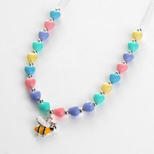 Girls Silver Plated Pastel Hearts Bee Necklace
