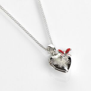 Equilibrium Girls Silver Plated Butterfly Heart-Shaped Locket