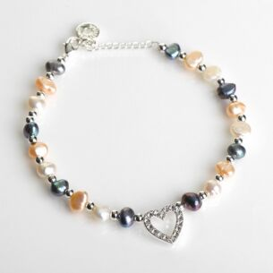 Freshwater Pearl Diamond Heart Bracelet