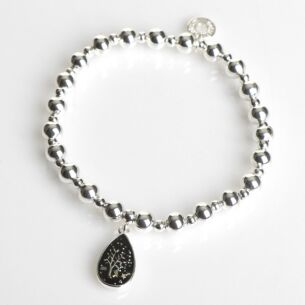 Silver Plated Midnight Sparkle Teardrop Tree Bracelet