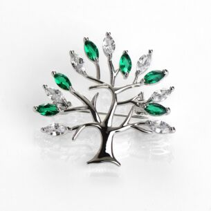 Green Tree of Life Silver Brooch