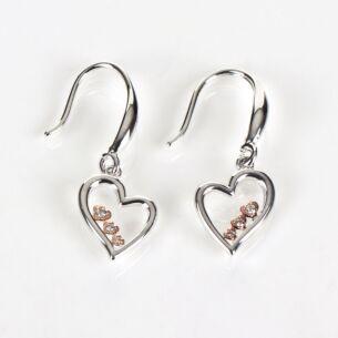 Two Tone Polished Pretty Hearts Earrings
