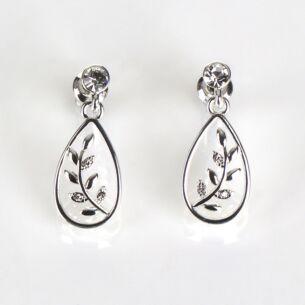 Silver Plated Back To Nature Fern Teardrop Earrings