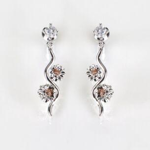 Two Tone Botanical Ripple Gerbera Earrings