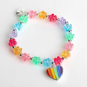 Girls Silver Plated Rainbow Heart Bracelet