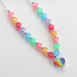 Girls Silver Plated Rainbow Hearts Necklace