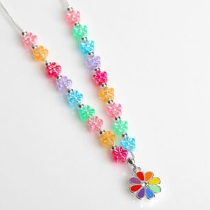 Girls Silver Plated Rainbow Flowers Necklace