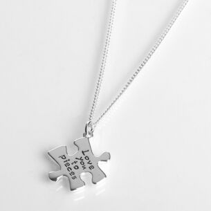 Silver Plated Jigsaw Love Necklace