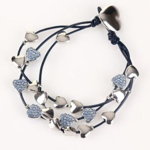 Equilibrium Blue Multi Hearts Leather Bracelet